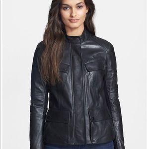 Vince cargo black leather jacket